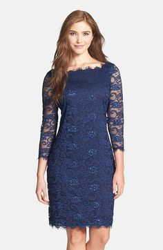 Free shipping and returns on Marina Embellished Lace Sheath Dress at Nordstrom.com. Iridescent sequins subtly illuminate the floral lace overlay of a figure-skimming sheath framed by wispy eyelash scallops at the squared neckline, cuffs and hem.