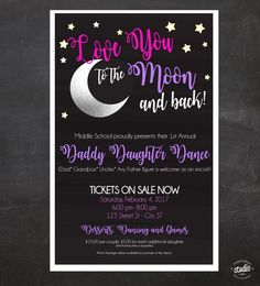 Daddy-Daughter Dance - Love You to the Moon and Back - Event Custom Printable Package - flyer, tickets and poster If you are planning a Daddy-Daughter dance for your school, church or another organization we can make it super easy for you. Dance Decorations, Dance Themes, School Decorations, Reception Decorations, Daddy Daughter Dates, Mom Son, Funny Wedding Photos, Wedding Music, Wedding Shot