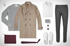 Everlane Slim Fit Oxford ($55). Everlane Chunky Knit Raglan Sweater ($88). Everlane Twill Tablet Case ($20). Everlane Fold-Over Wallet ($65). Paul Smith Wool Trousers ($800). Common Projects Bball Sneakers ($410). APC Mac Trench Coat ($590). Daniel Wellington Grace London Watch...