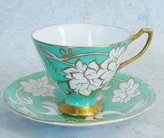 English Teacups and Saucers   Mint Green Tea por SwirlingOrange11, $40.00