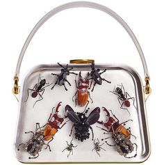 """opaqueglitter: """"Prada and Damien Hirst presents Entomology Bags Miuccia Prada likes to surprise , shock and tease the audience. Recently, Prada has released a limited collection of twenty bags,. Vintage Purses, Vintage Bags, Vintage Handbags, Vintage Outfits, Elsa Schiaparelli, Damien Hirst, Prada Bag, Prada Handbags, Suede Handbags"""