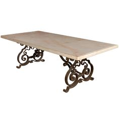 Elegant C. Mediterranean Marble Top Wrought Iron Dining Table.