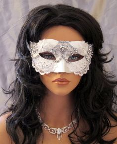 White Bridal Bling Masquerade Mask by TheCraftyCrafter on Etsy