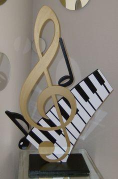 Résumé Clef or & touches Piano musique tableau Sculpture par Diva Art69 Studios