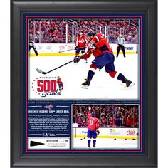 "Alex Ovechkin Washington Capitals Fanatics Authentic Framed 15"" x 17"" 500th Career Goal Collage With A Piece of Game-Used Puck - $71.99"