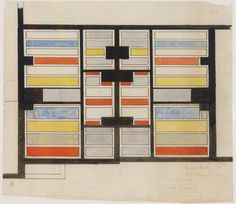 Theo van Doesburg Color Design for the ceiling  of the middle class houses on the Torenstraat in Drachten, nicknamed the Parrot Area, sept. 1921, Collection Museum Dr8888