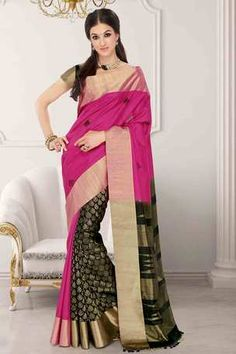 Black & pink raw silk zari weaved saree in golden border & black pallu