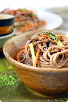 """Cold Soba Noodle Sala  Ingredients For The """"Soba Noodles"""":  2x 80g Dry soba/buckwheat noodle bundles  Ingredients For The """"Vinaigrette"""":  4 Tbs Sweet Japanese soy sauce (Kikkoman)  3 Tbs Sesame oil  2 1/2 Tbs Rice vinegar  1 1/2 Tsp Wasabi paste  3 Tsps Chopped fresh ginger  2 1/2 Tbs sesame seeds (black or white), roasted  Ingredients For The """"Topping"""":  2 Medium carrots, cut into thin matchtsicks  1/3 Cucumber, cut into thin matchsticks"""
