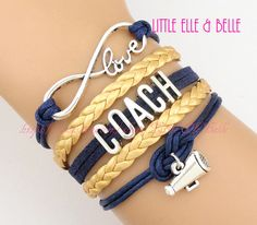 Infinity Wish Charm Bracelet, Love, Coach, Megaphone, Cheer, Cheerleading, Cheerleader, Navy Blue, Gold, Customize, Sister, Friendship Gift on Etsy, $6.59