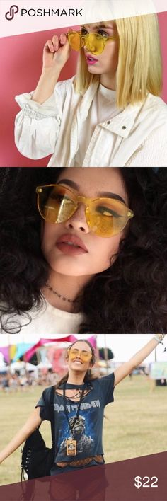 """Host Pick🎉 🌻It's """"Vintage"""" Yellow Sunglasses🌻 🌻Item Type:Eyewear🌻 🔶Gender:Women 🔶Style:Rimless 🔶Frame Material:Plastic 🔶Lenses Material:Acrylic 🔶Lens Width:60 mm 🔶Height: 53mm  It's """"Vintage"""" Boutique Sunglasses Accessories Sunglasses"""