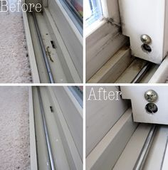 Clean sliding glass door tracks with this tutorial. AND 45 of the BEST Home Organizational & Household Tips, Tricks & Tutorials with their links!! Party and event prep, too! from MrsPollyRogers.com