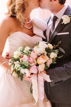rose bouquet with hand-torn ribbon | Haley Sheffield #wedding