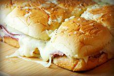 Buttery Three Cheese Ham Sandwiches