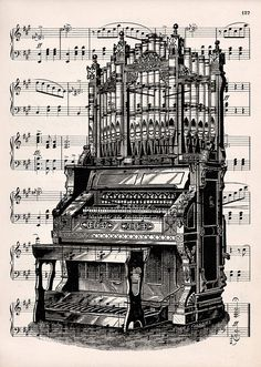 Organ print on vintage music