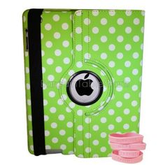 """Ipad 2 and Ipad 3 Polka Dot Rotating Case Color: Green by Bargain Tablet Parts. $9.99. Polka-Green Color: Green Features: -All of the iPad 2 and iPad 3 ports, buttons, speakers, and cameras are visible and accessible with the case on.-High quality case built specifically to fit the Apple iPad 2 and 3.-Smart cover to sleep saving you battery life. Construction: -Constructed of highest quality PU leather. Dimensions: -Dimensions: 10"""" H x 7.5"""" W x 0.75"""" D."""