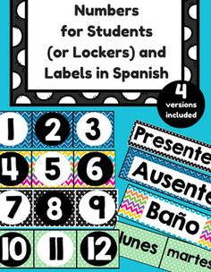 This classroom decor product is for teachers in Spanish immersion, bilingual or Spanish language classrooms. This product includes: -Students Numbers 1-36 (To label lockers, mail boxes, cubbies, book boxes, brag tags, etc.)-Labels for Containers, Door, Wall, Etc.- (Presente, Ausente, fuera del salon, bao, correo para la maestra, papeles extras, bienvenidos, lunes, martes, miercoles, jueves, viernes, la semana que entra) -2 blank cards (small and large) in each color This product includes 4…