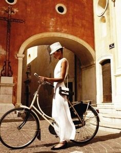 bicycles, fashion, travel chic, dress, white outfits, ride a bike, hello summer, hat, bike style