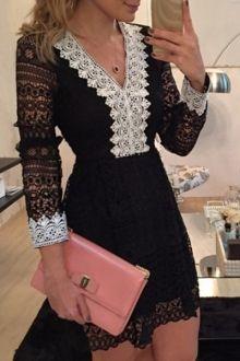 Lace Spliced V Neck Nine-Minute Sleeve Dress
