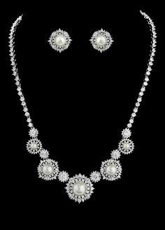 Vintage Look Pearl and CZ Bridal Jewelry--Affordable Elegance Bridal -