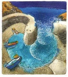 Spiral harbour painting by Chris Neale