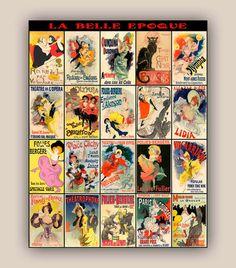 La Belle Epoque posters miniatures collection Vintage by PrintLand French Decor, Shadow Box, French Vintage, Fine Art Paper, Illustration Art, Miniatures, Canvas Prints, Bows, Posters