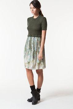 TWIN-SET Simona Barbieri :: HW13 :: Kleider :: Kleid Aus Bedruckter Gaze Mit Strickoberteil :: P3A3RA