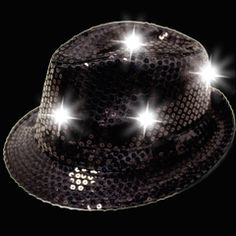 Black Sequin L.E.D. Fedora from Party 411