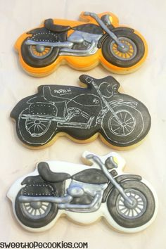 Motorcycle Cookies. Chalkboard drawing on cookie is clever!