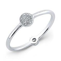 14KT White Gold Diamond Mini Disc Ring