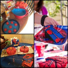 Polka dot cake- Spider-man theme.    Baked cake balls into regular batter and this was the result. :)