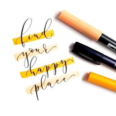 Find your happy place! 🧡  📷: @bella.cymentha     Tombow Usa, Letter Art, Brush Lettering, Modern Calligraphy, Are You Happy, Finding Yourself, Typography, Handwriting, Creativity