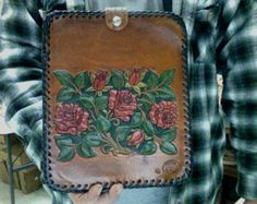 I Pad, Case / Women / Hand Carved and Tooled / Leather / I Pad, Cover / Western / Tablet / Flower / Hand made / Red Rose / Sheridan / Custom
