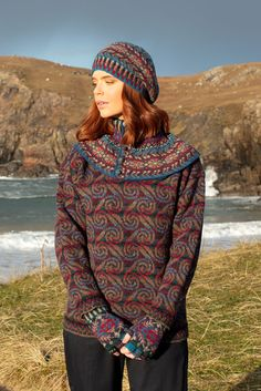 Donegal and Marina Hat Set patterncard knitwear designs by Alice Starmore in pure wool Hebridean 2 Ply hand knitting yarn Celtic Spiral, Hand Knitting Yarn, Spiral Pattern, Donegal, Card Patterns, 2 Ply, Pattern Making, Knitwear, Alice
