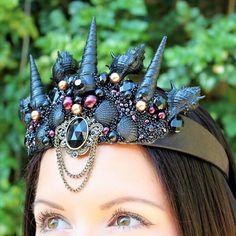 Seashell crown mermaid crown black sea shell by Reallifefairytales