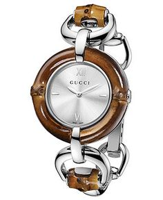 Gucci Watch, Women's Swiss Bamboo and Stainless Steel Bangle Bracelet.