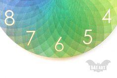 Color Wall Clock - Rainbow clock - Wooden Color clock - Black metal hands - High quality quartz clock movement & hands - Home Decor Hand Pictures, Clock Parts, Clock Movements, Metal Hangers, Wood Patterns, Wall Colors, Black Metal, Rainbow, Prints