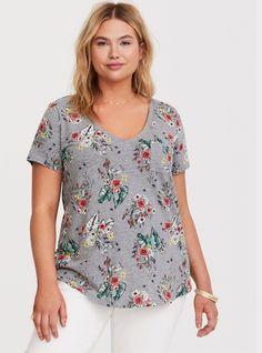 43575ec0d3c1f Grey Floral V-neck Classic Fit Tee. Plus Size ...