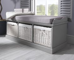 Etonnant Amazing Grey Storage Bench With Baskets