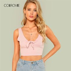 e35b411425878c Knot Front Pink Neck Slim Crop Tank Top