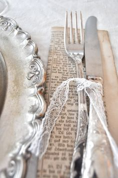 Old documents/book pages.tie with lace.vintage inspired silver and lace table setting Wedding Napkins, Wedding Table, Wedding Cutlery, Deco Champetre, Do It Yourself Wedding, Lace Table, Decoration Table, Banquet Decorations, Vintage Silver
