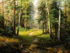 Картинки по запросу сосновый лес живопись