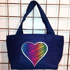 Rainbow Scribble Heart Insulated Lunch Bag (Navy) - LikeWear