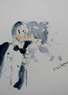 """""""Sweet Love"""" Watercolor & Ink Sketch"""