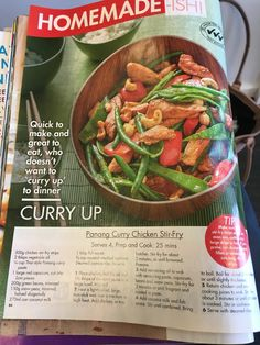 Panang Curry Chicken, Chicken Stir Fry, Ratatouille, Green Beans, Fries, Magazine, Dinner, Vegetables, Eat