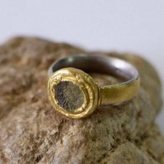 Wide Silver and Gold Glass ring, Ancient Roman Glass Ring, Unique engagement ring,gypsy boho chic ring, ancient roman jewelry