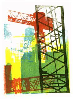 'Modern City' No - mono-print art, Dutch artist, Hilly van Eerten, 2010 - Hilly van Eerten Advanced Higher Art, Art Alevel, Graphic Art Prints, Cityscape Art, Building Art, A Level Art, Dutch Artists, High Art, Modern City