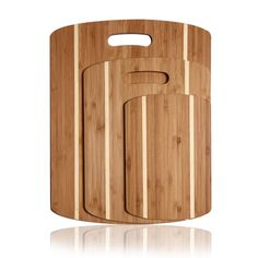 100% Natural Bamboo Chopping Cutting Board with Handles and Contrasting Stripes #cuttingboards