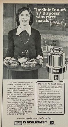 1977 Billie Jean King In-Sink-Erator 77 Disposer Vintage Ad Vintage Ad Kitchen Holding Tray Food
