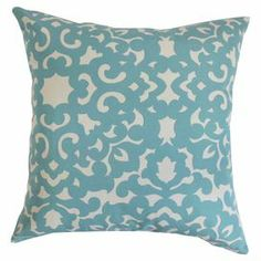 Cotton pillow with a damask-inspired design. Made in the USA.   Product: PillowConstruction Material: Cotton cover and 95/5 down fillColor: Horizon blueFeatures:  Insert includedHidden zipper closureMade in the USA  Cleaning and Care: Spot clean