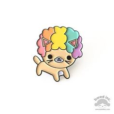 Afro Cat Pin ~ Rainbow
